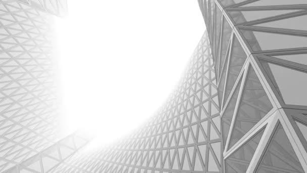 Abstraktní 3D drátový rám architektury a budov