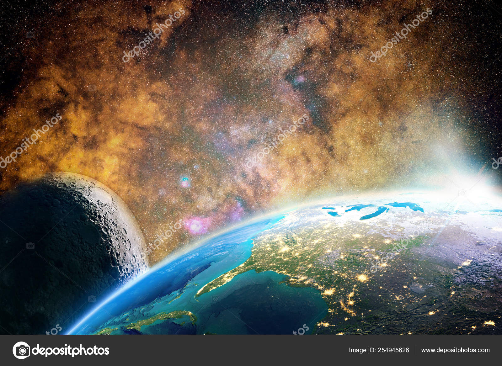 Artistic Abstract Planet With It S Moon In A Colorful Galaxy Background Stock Photo C Mo Ali 254945626