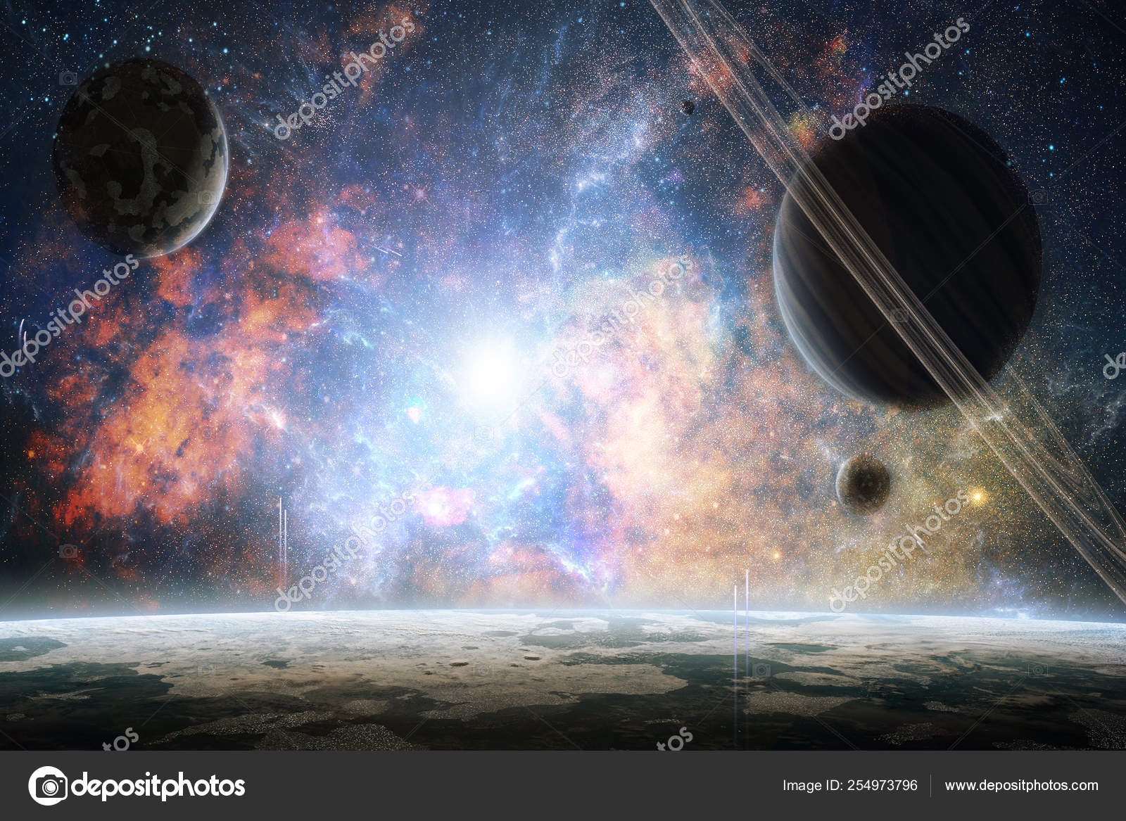 Artistic Abstract Planets In A Colorful Bright Galaxy Background Stock Photo C Mo Ali 254973796