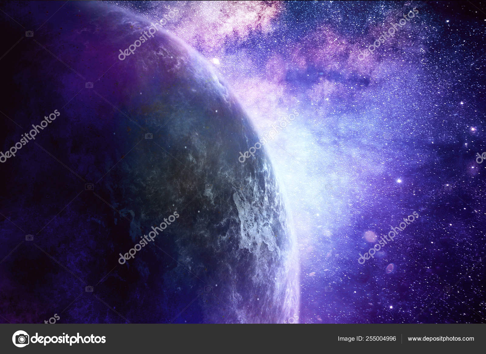 Abstract Artistic Planet Horizon On A Dramatic Colorful Galaxy B Stock Photo C Mo Ali 255004996