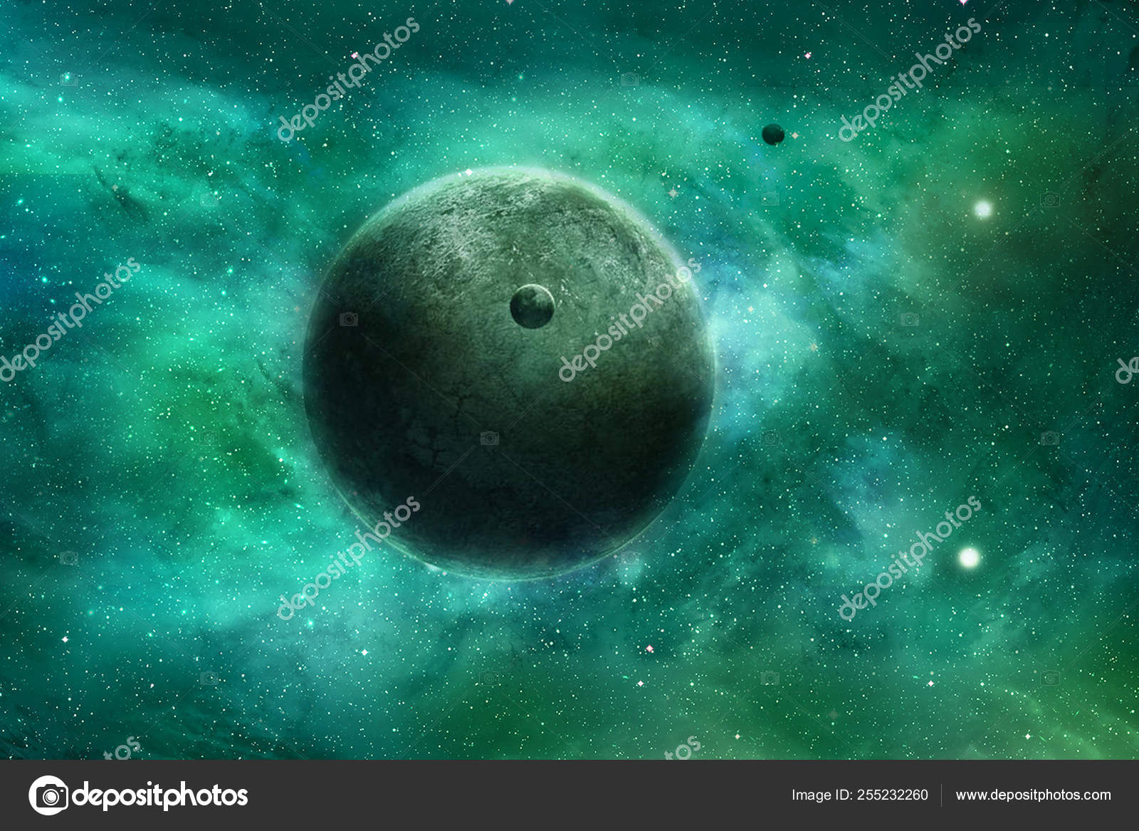 Abstract Smooth Beautiful Planet In A Colorful Galaxy Artwork Stock Photo C Mo Ali 255232260