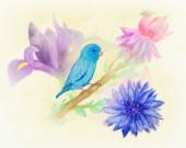 Photo Blue bird sitting on blooming branch