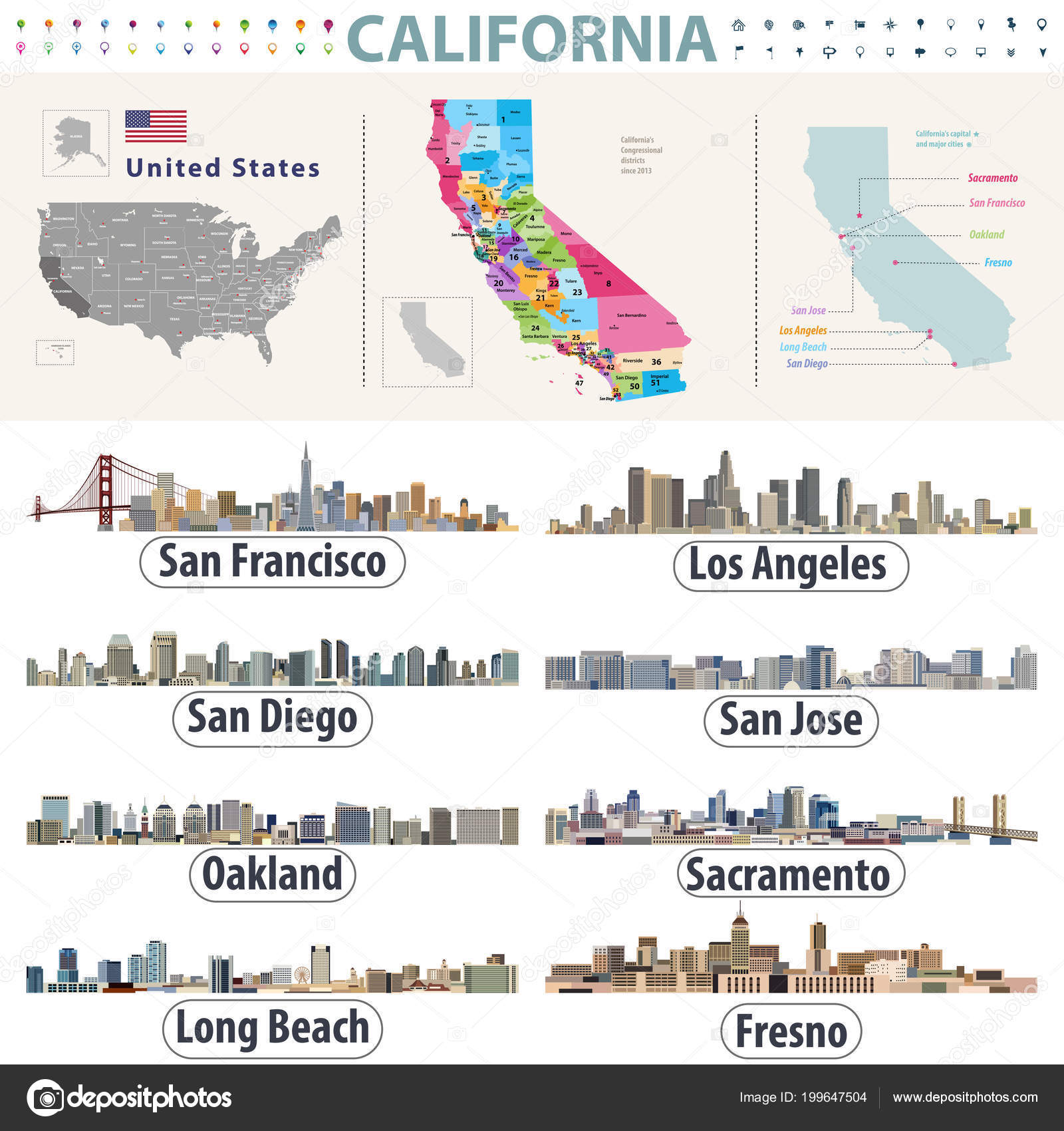 Detailed Map California on