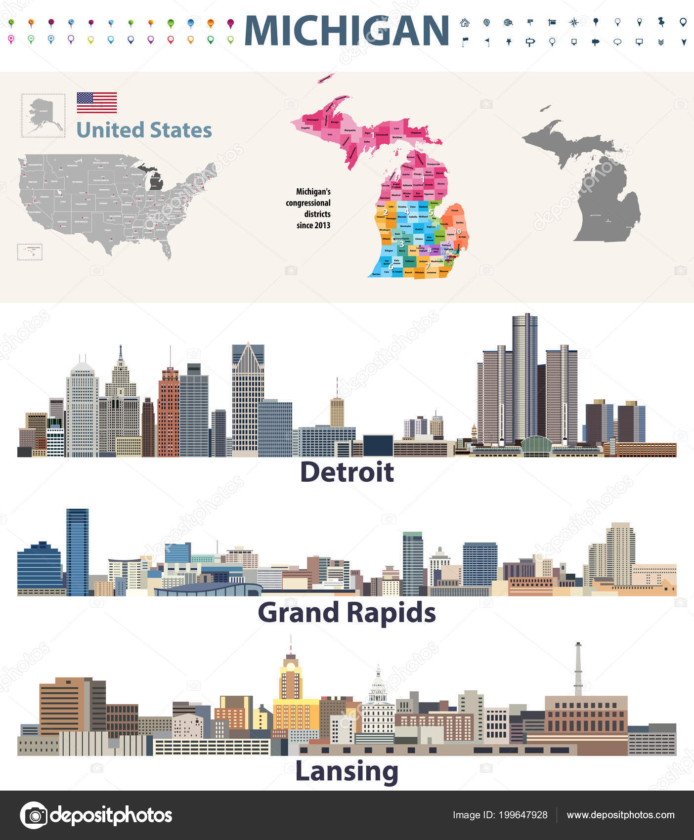 Michigan Congressional Districts Map Capital Major Cities Skylines on
