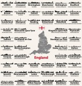 Photo England major cities abstract skylines silhouettes icons. Map of England with all major cities and administrative divisions borders
