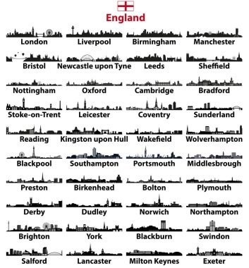 England major cities skylines vector collection