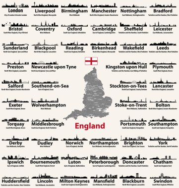 England major cities abstract skylines silhouettes icons. Map of England with all major cities and administrative divisions borders