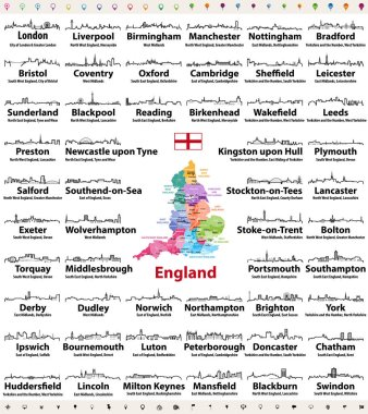 England major cities abstract skylines outline icons. Map of England with all major cities and administrative divisions borders