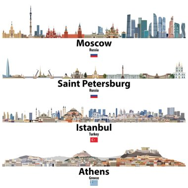 Cityscapes of Moscow, Saint Petersburg, Istanbul and Athens. Flags of Russia, Turkey and Greece. Vector  high detailed illustration clip art vector
