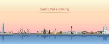 Vector illustration of Saint Petersburg skyline at sunrise clip art vector
