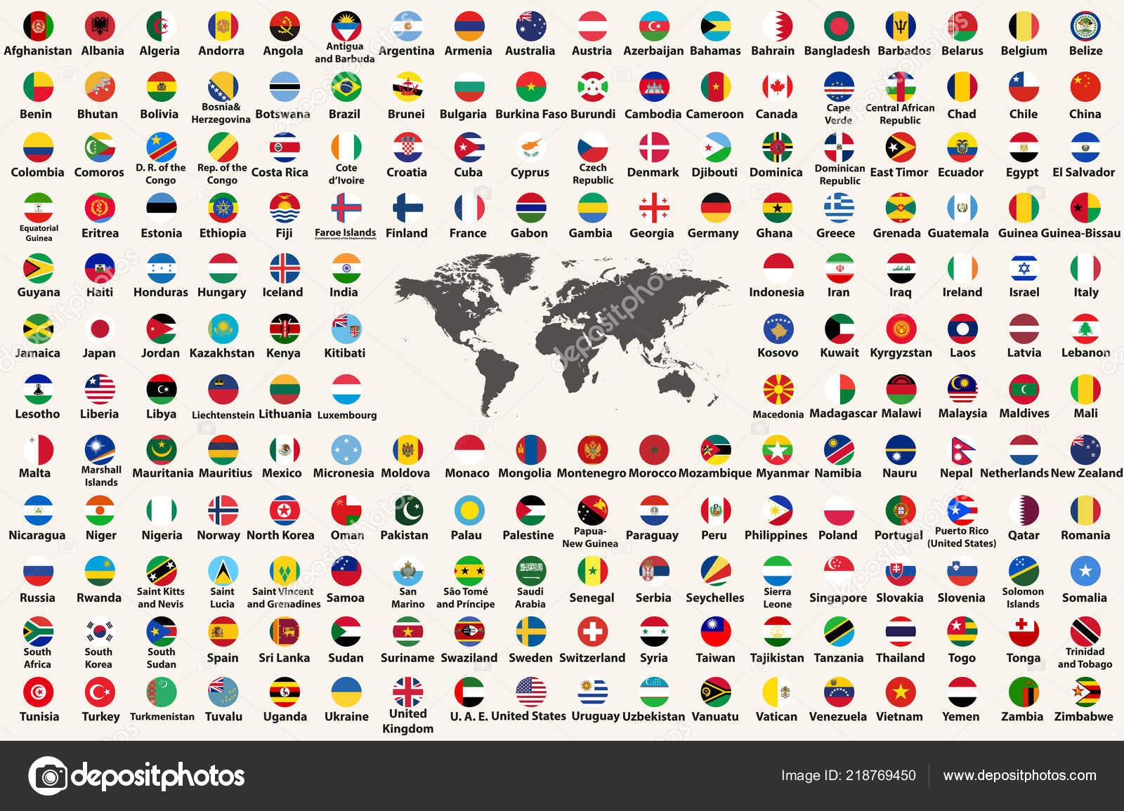 All Countries Flags World Circular Form Design Arranged