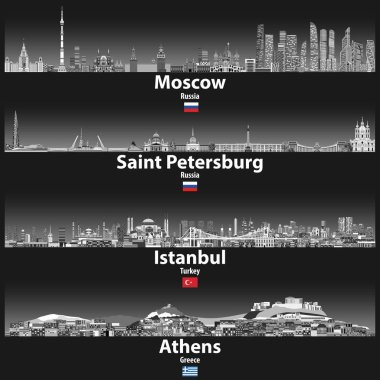 vector illustration of Moscow, Saint Petersburg, Istanbul and Athens skylines at night in grey scales color palette with bright lights illumination