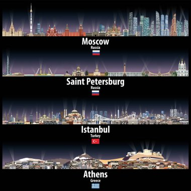Vector illustration of Moscow, Saint Petersburg, Istanbul and Athens skylines at night with bright city lights clip art vector