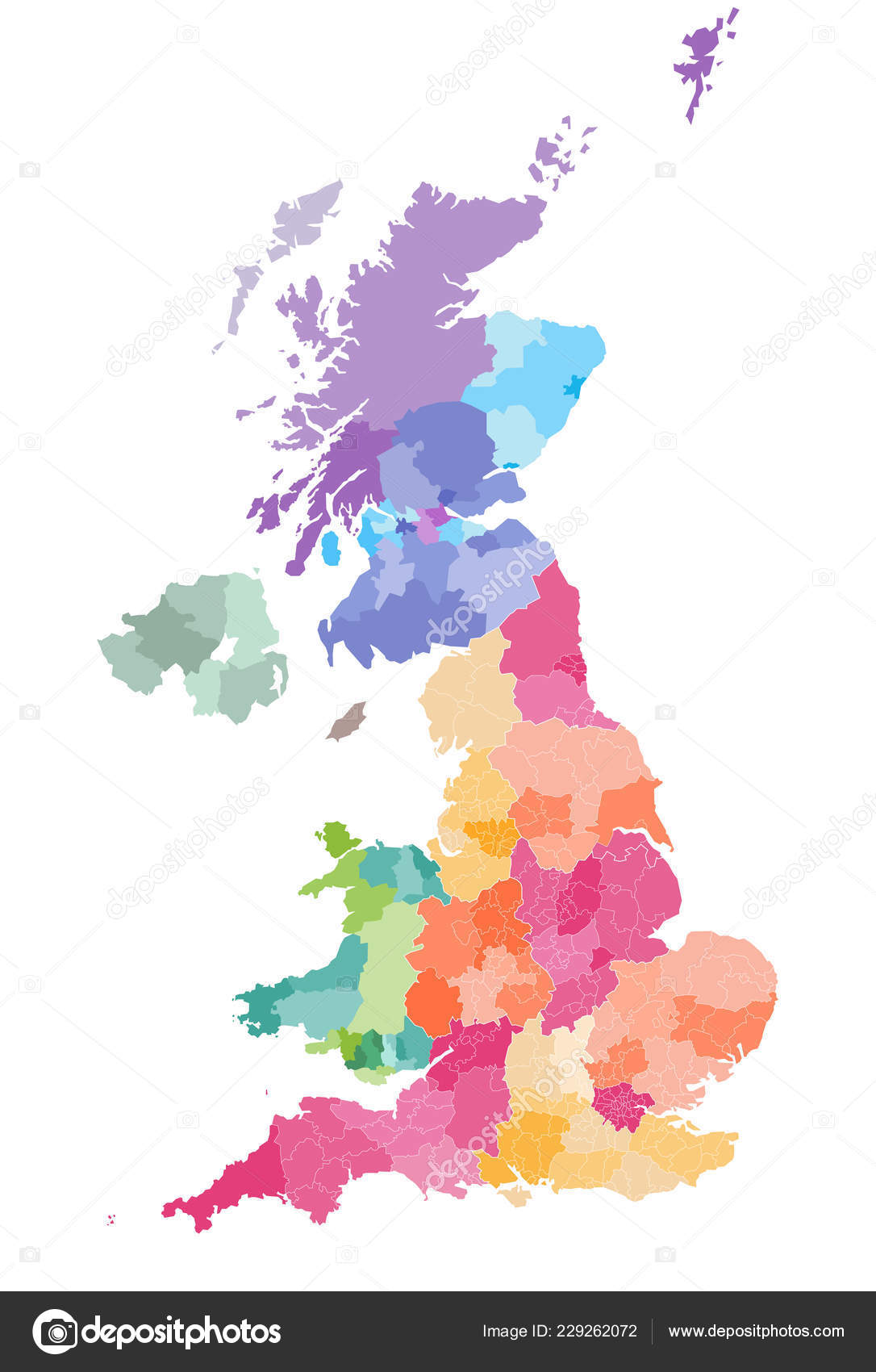 Vector Map United Kingdom Administrative Divisions Colored Countries