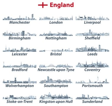 England largest cities vector skylines illustrations in tints of blue color palette. All elements separated in editable and detachable layers. Vector illustration