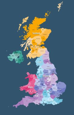 United Kingdom high detailed vector map with administrative divisions borders