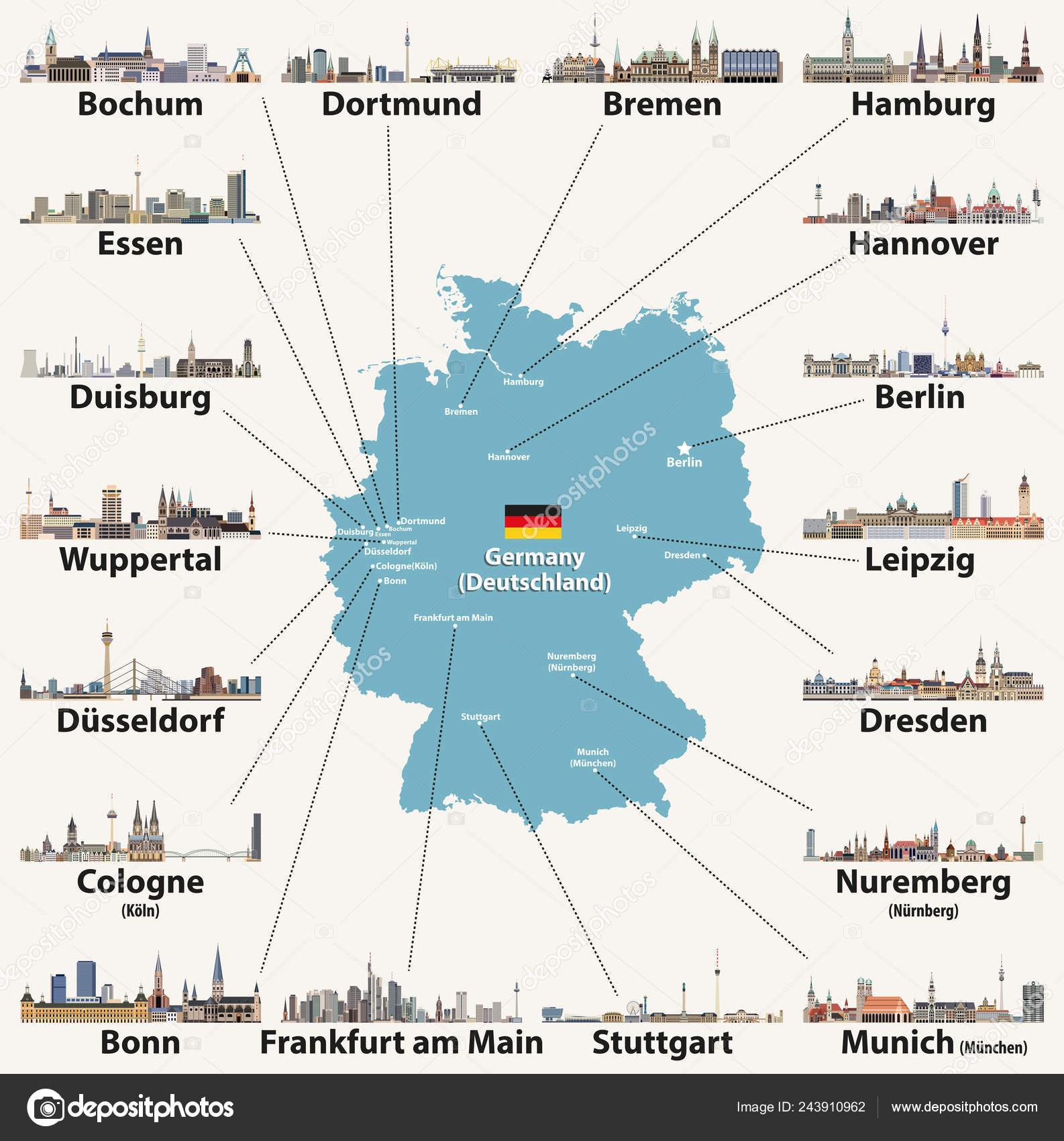 Mapa De Alemania Ciudades.Mapa Alemania Con Iconos Skylines Ciudades Mas Grandes