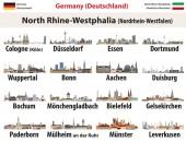 Vektorset des Landes Nordrhein-Westfalen Größte Städte Skylines Symbole