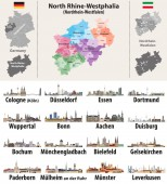 Vektorillustration der NRW-Karte mit den größten Städten Deutschlands