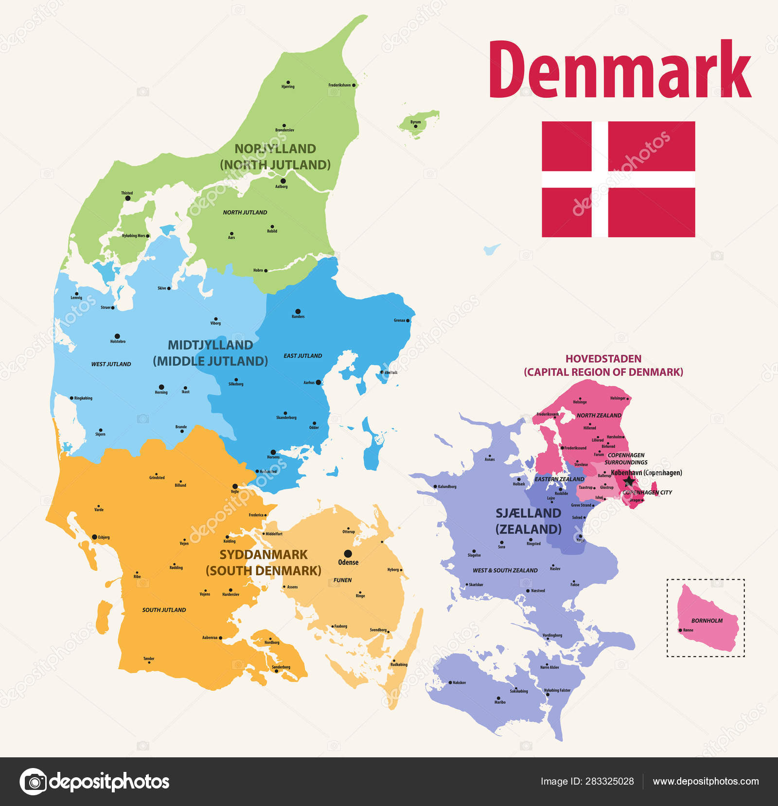 Vector Map Denmark Provinces Colored Regions Main Cities Stock