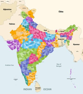 Map of India with neighbouring countries and territories. Indian map colored by states and showing districts boundaries inside each state. Vector illustration