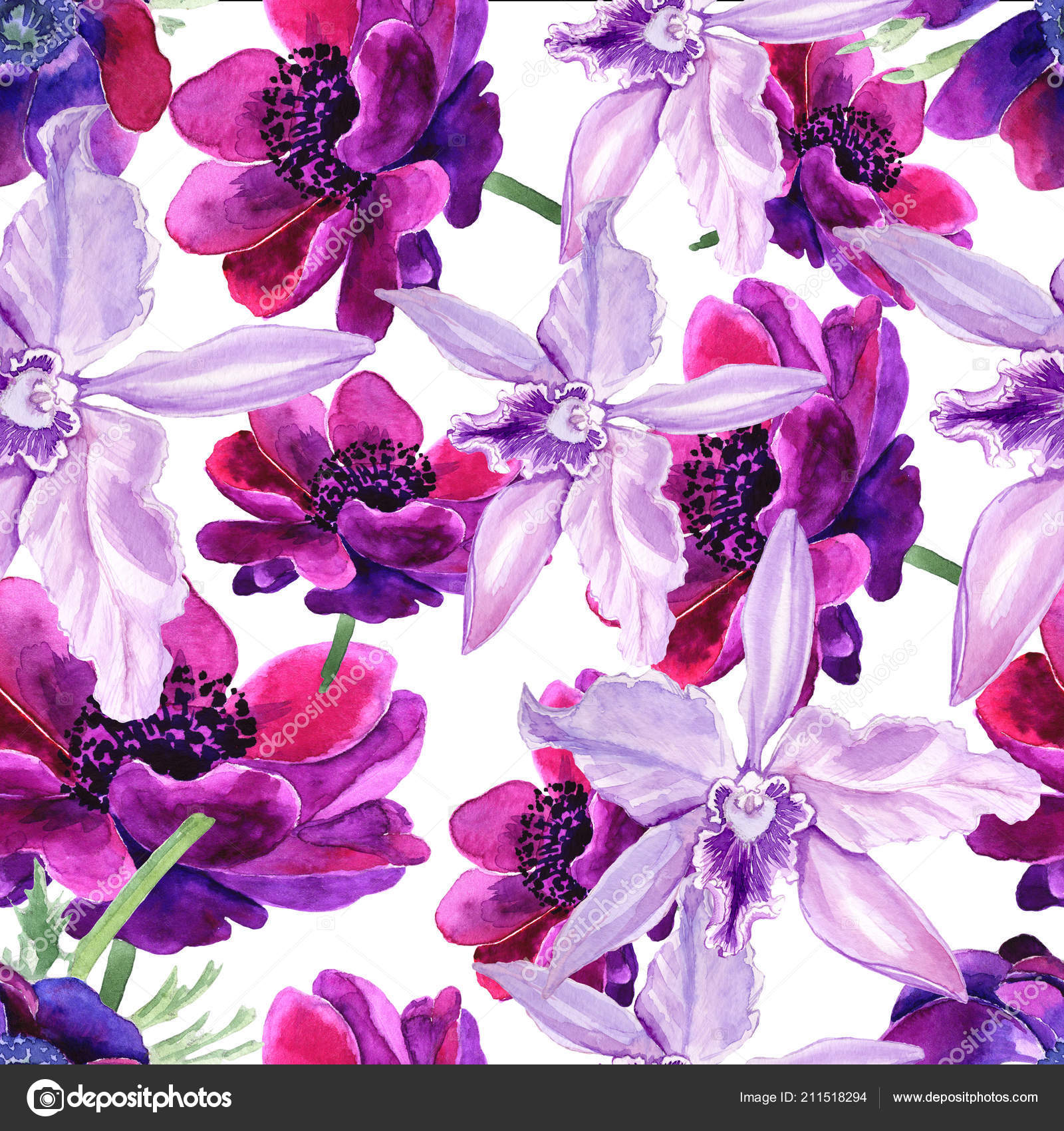 Seamless Pattern Flowers Are Made With A Watercolor The Full Name