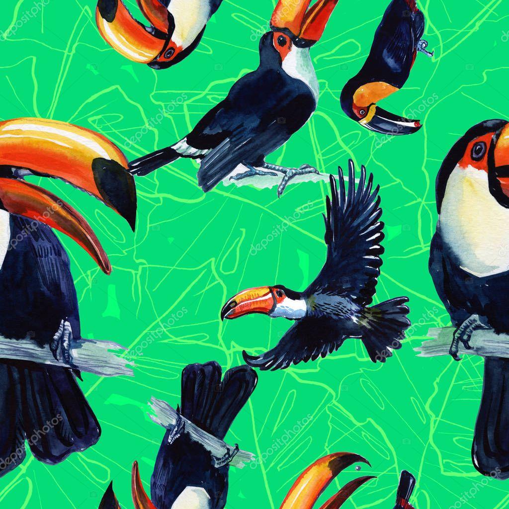 Toucan Tattoo Toucan Exotic Bird Painted Watercolor Seamless