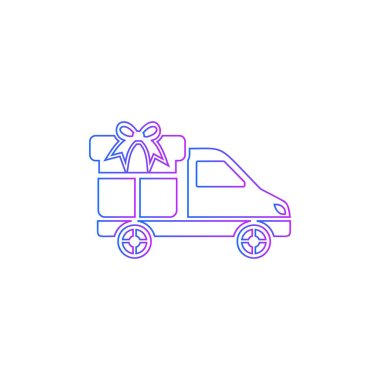 A delivery car with gift box icon - vector
