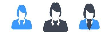 Set of three glyph business woman avatar vector illustration