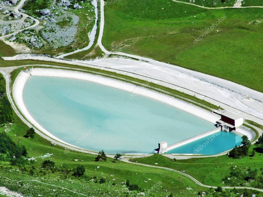Artificial acumulational lake in the Sandbach valley or Sandbachtal - Canton of Glarus, Switzerland