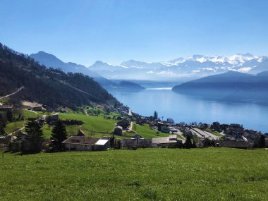 The village of Weggis on the shore of Lake Lucerne (Lake of the Four Forested Settlements or Vierwaldstattersee) - Canton of Lucerne, Switzerland (Kanton Luzern, Schweiz)