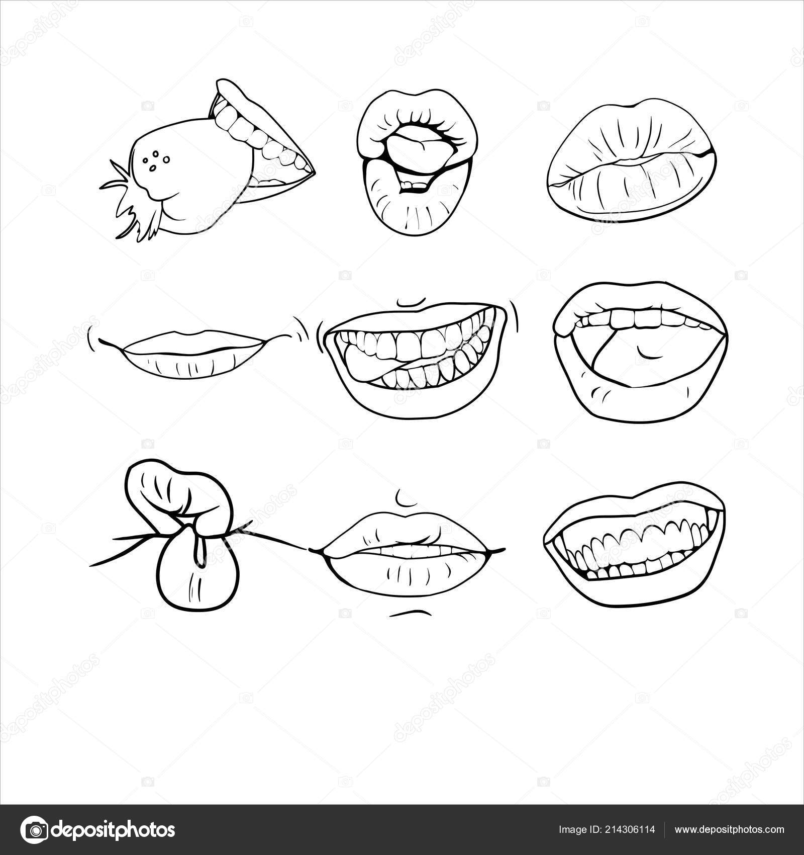 Set linear drawings different lips stock vector