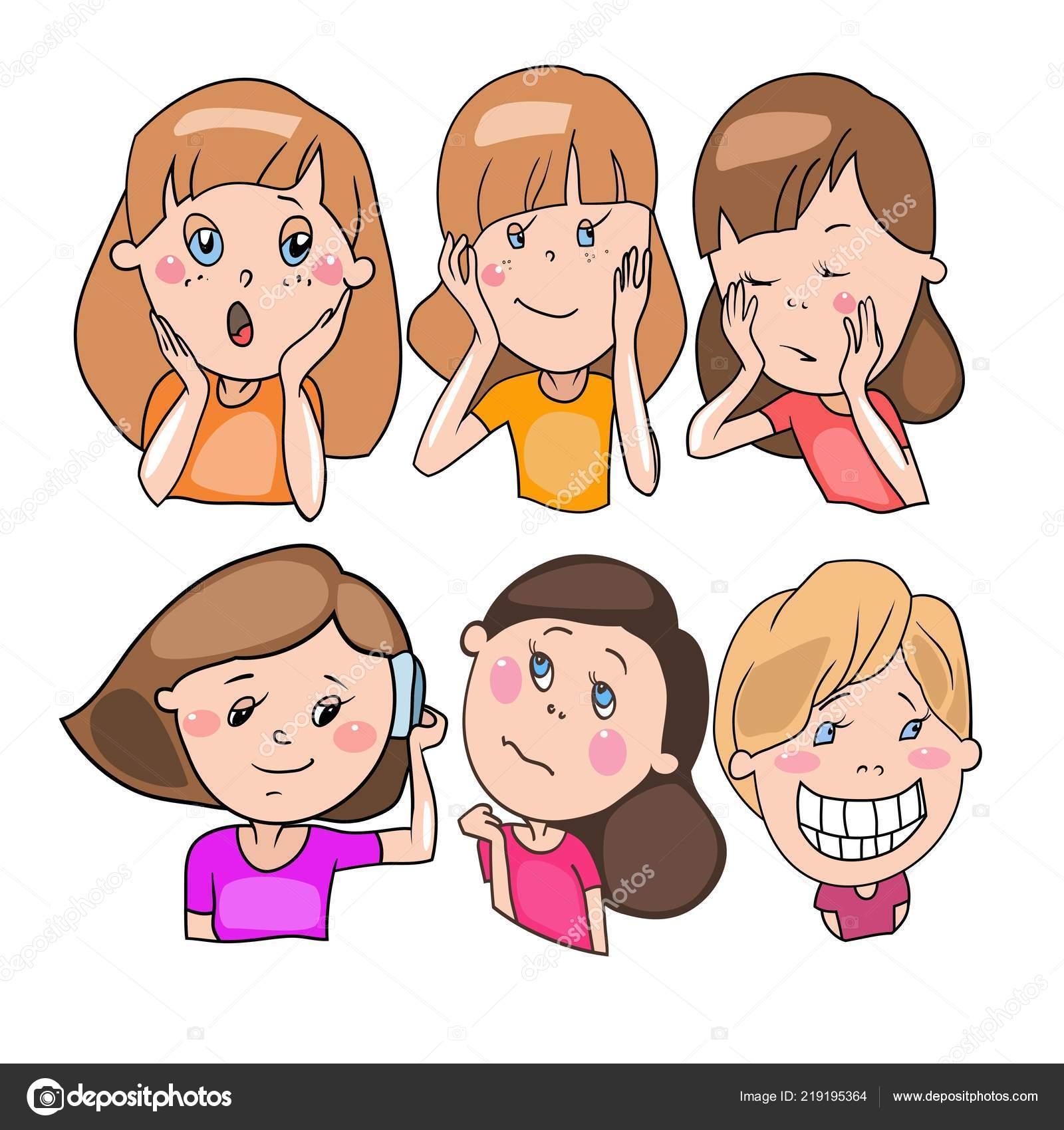 Set Disegni Vettoriali Personaggi Dei Cartoni Animati Emozioni