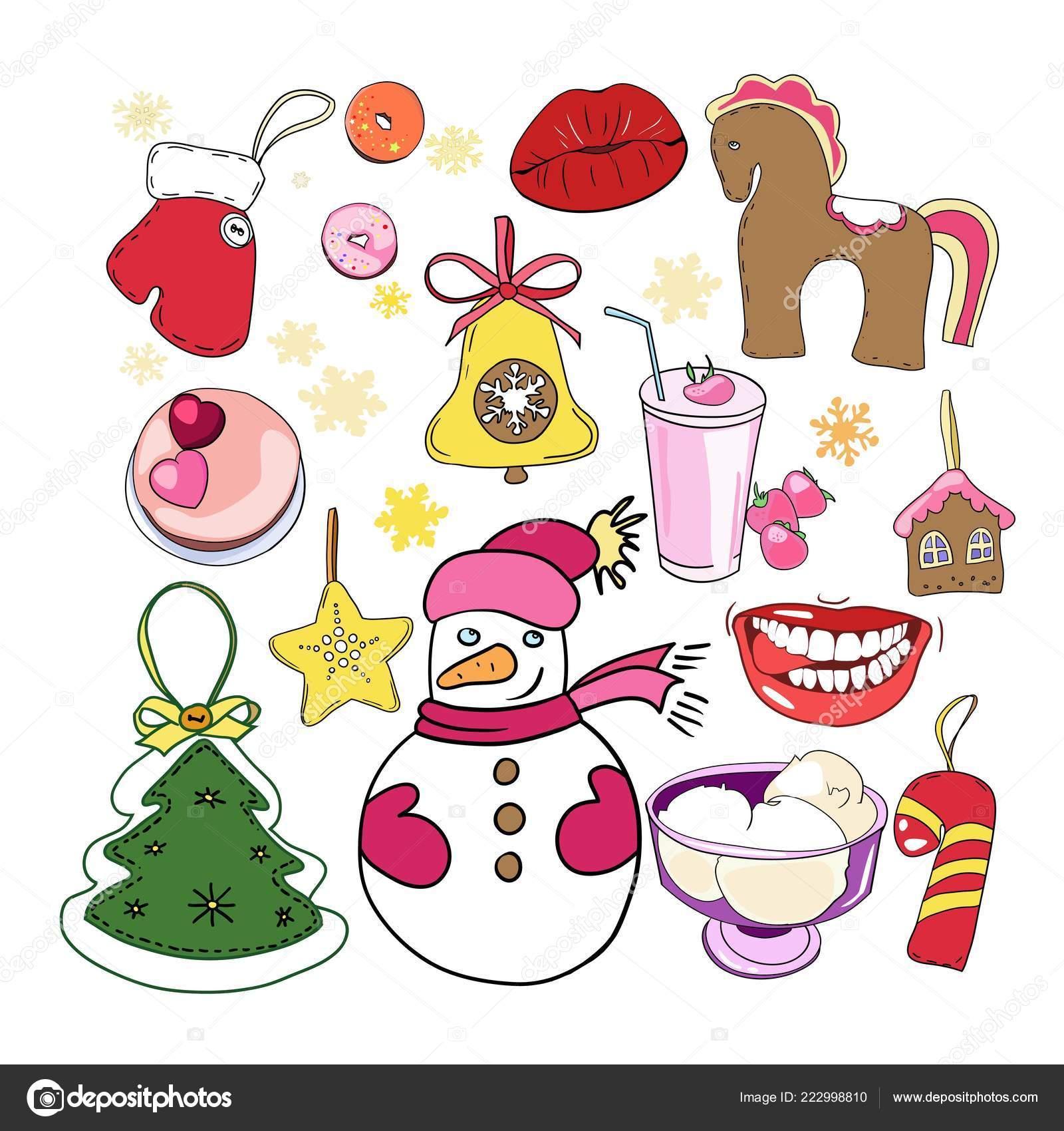 Ensemble Dessins Couleur Dans Vecteur Jouets Noël Nouvel