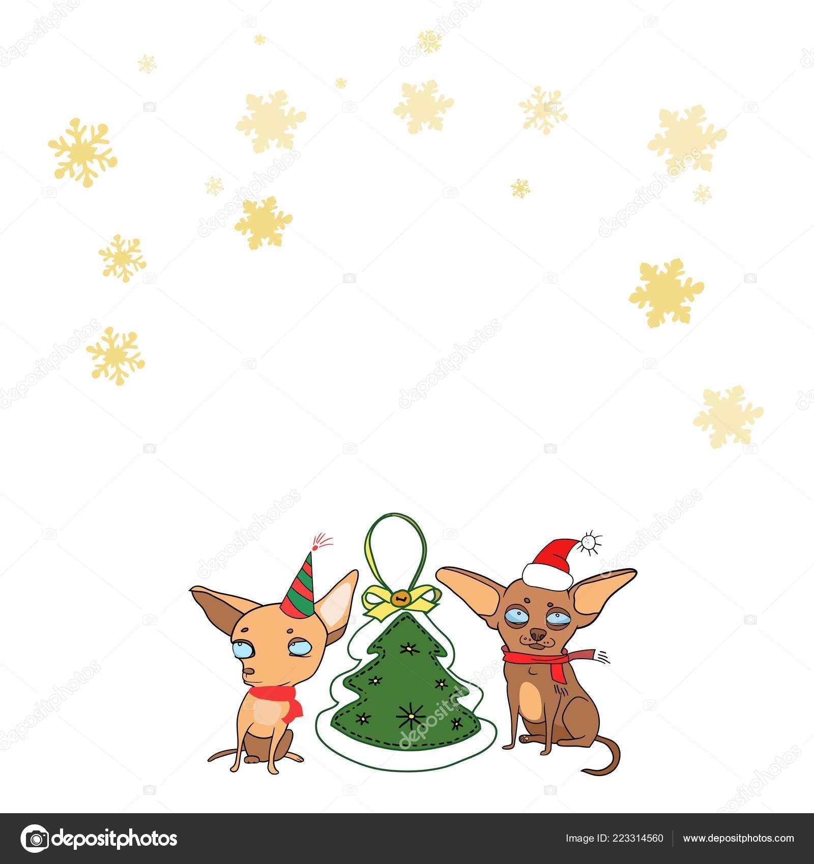 Disegni Di Natale Vettoriali.Disegni Di Cani Natalizi Serie Disegni Natale Capodanno