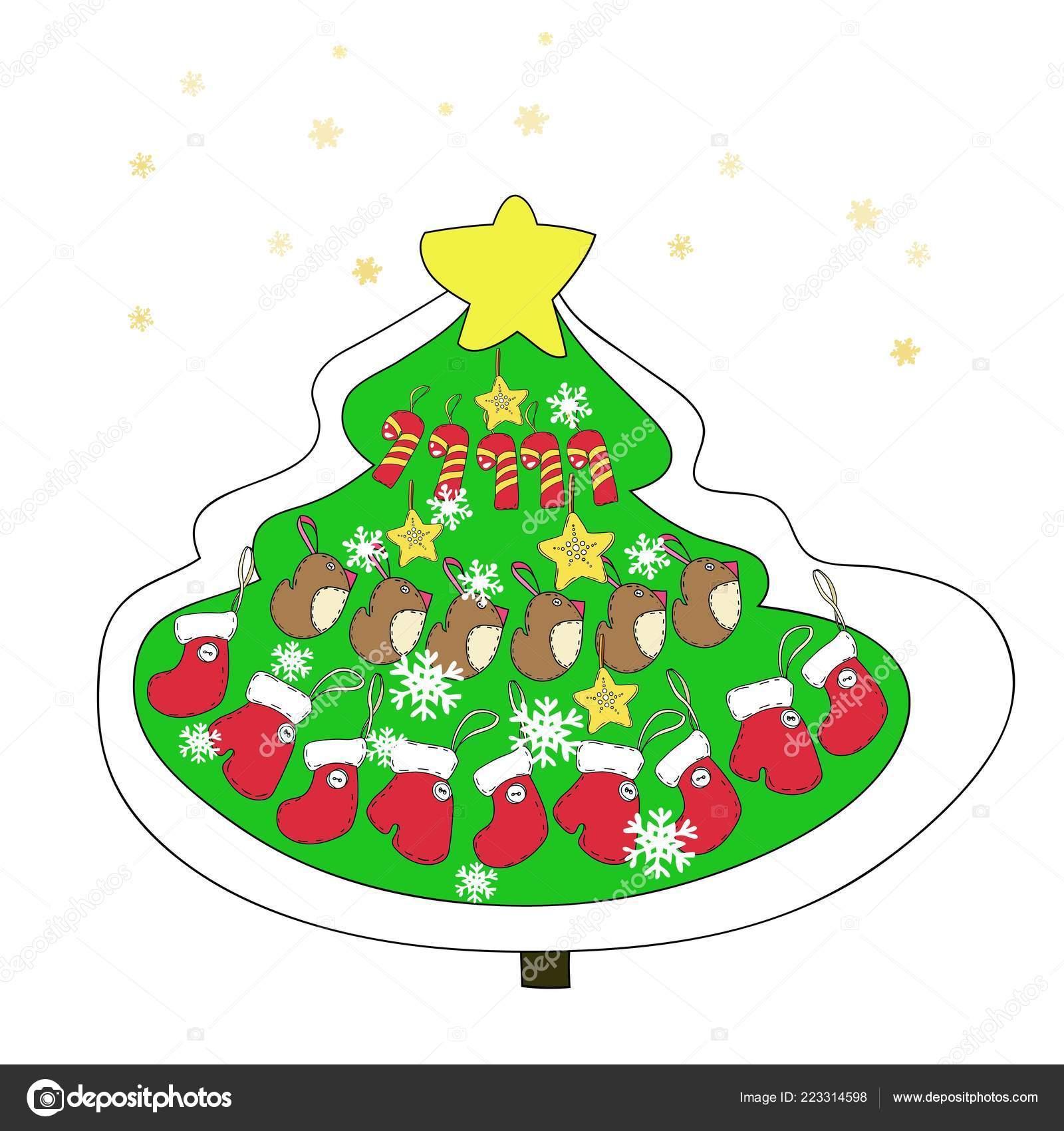 Disegni Di Natale Vettoriali.Disegni Decorazioni Natalizie Serie Disegni Natale Capodanno