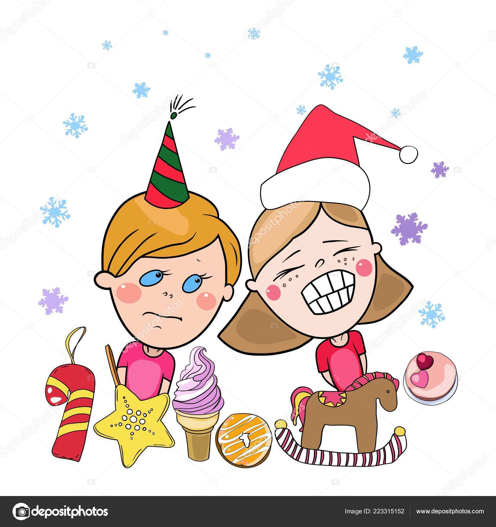 Colorful Christmas Ornaments Drawings.Set Colored Christmas New Years Drawings Vector Children