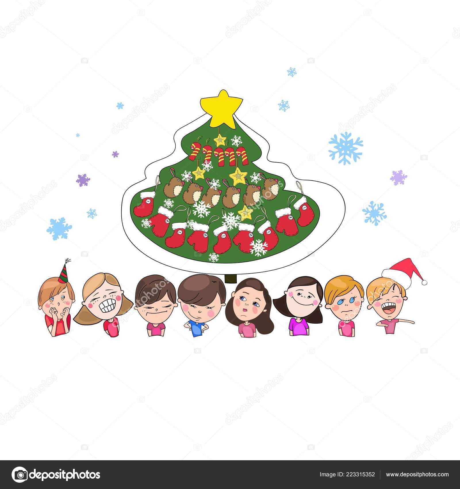 Immagini Di Natale Per Bambini Colorate.Disegni Capodanno Colorati Set Disegni Colorati Natale