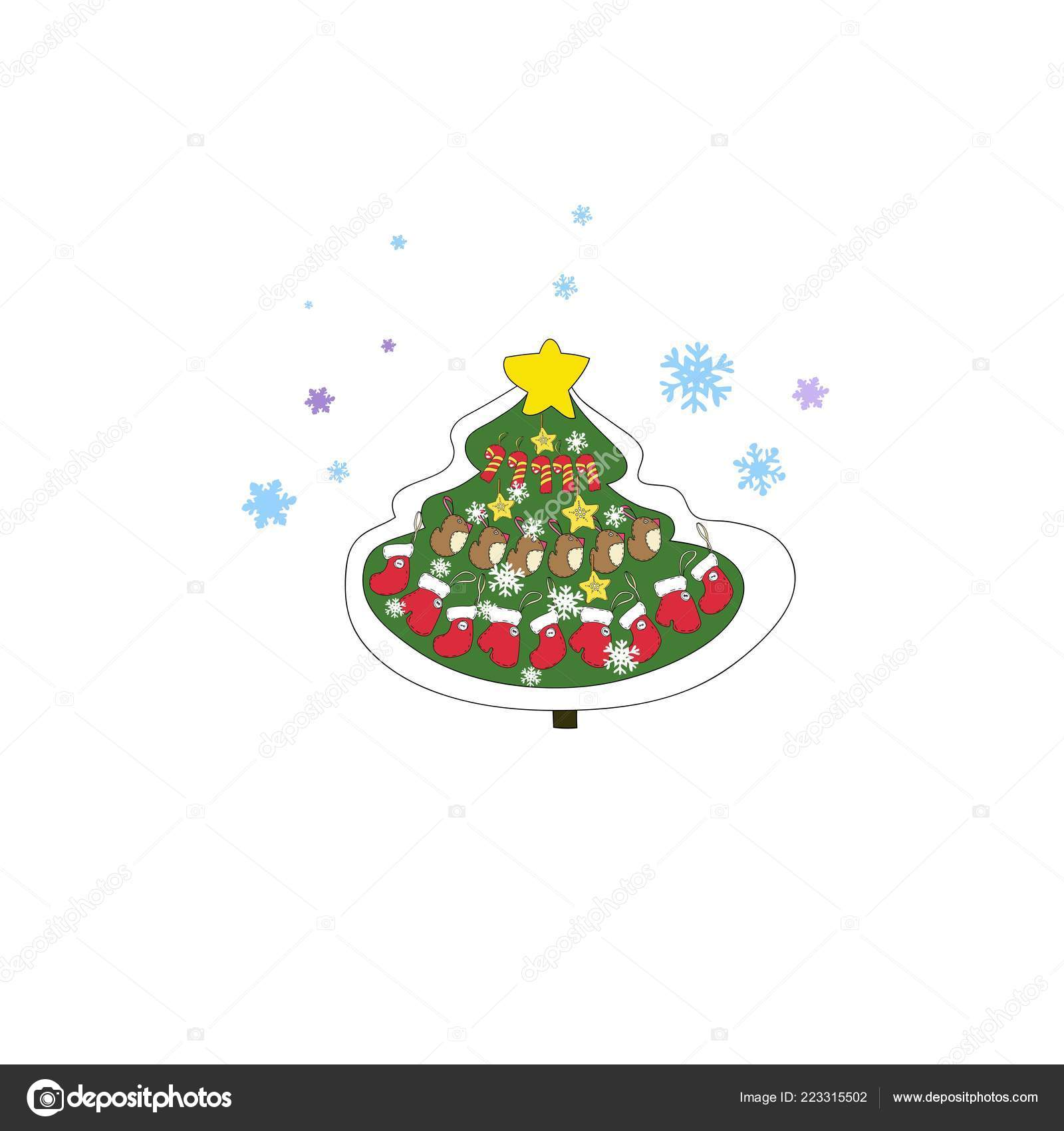 Drawings Of Christmas Decorations.Set New Year Christmas Drawings Vector Decoration Christmas