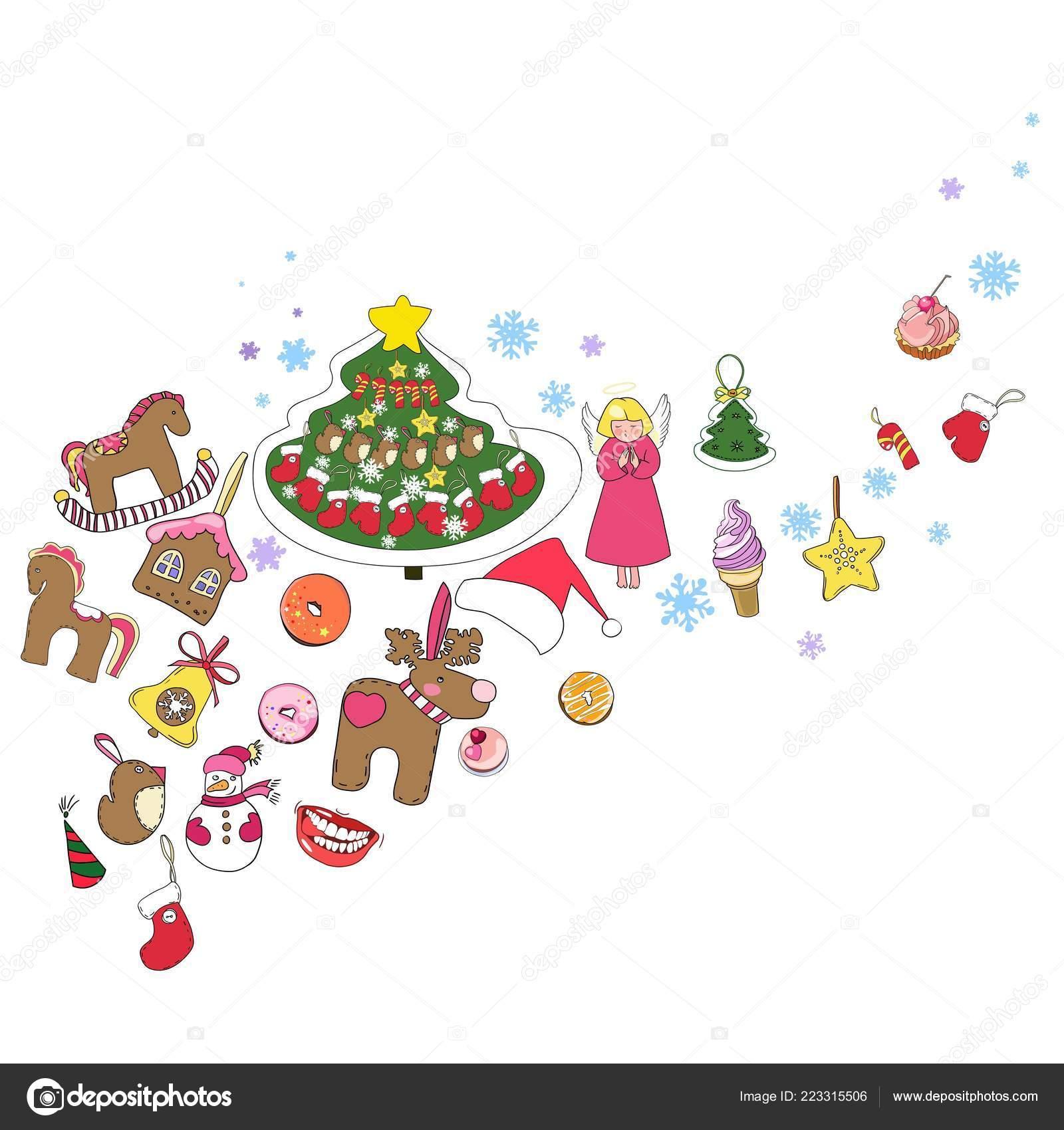 Disegni Di Natale Vettoriali.Serie Disegni Natale Capodanno Vettoriale Decorazione