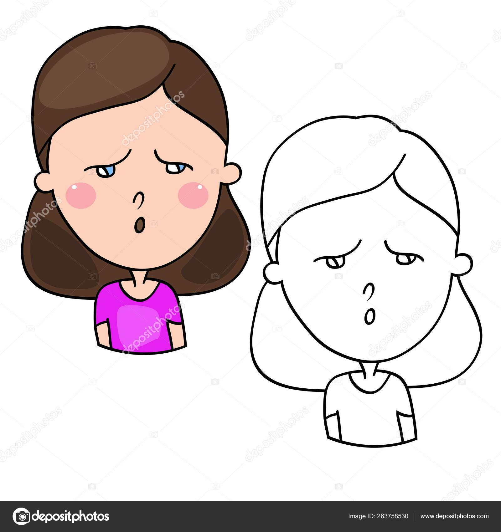 Funny Cartoon Characters Girls Expression Emotions Mood
