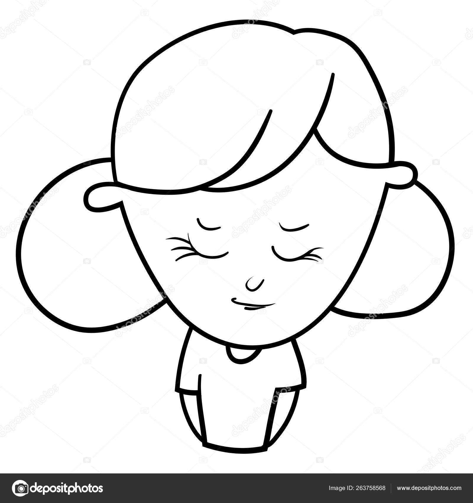 Funny Cartoon Characters Girls Expression Emotions Mood Portrait