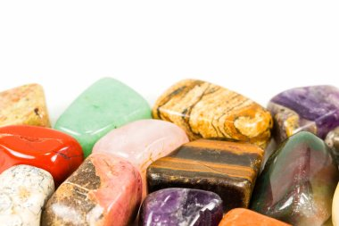 tumbled stones for crystal therapy treatments and reiki with copy space