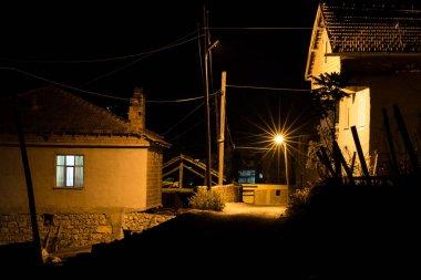 old farmhouse in the Turkish village Oymaagac by night, Turkey, Asia