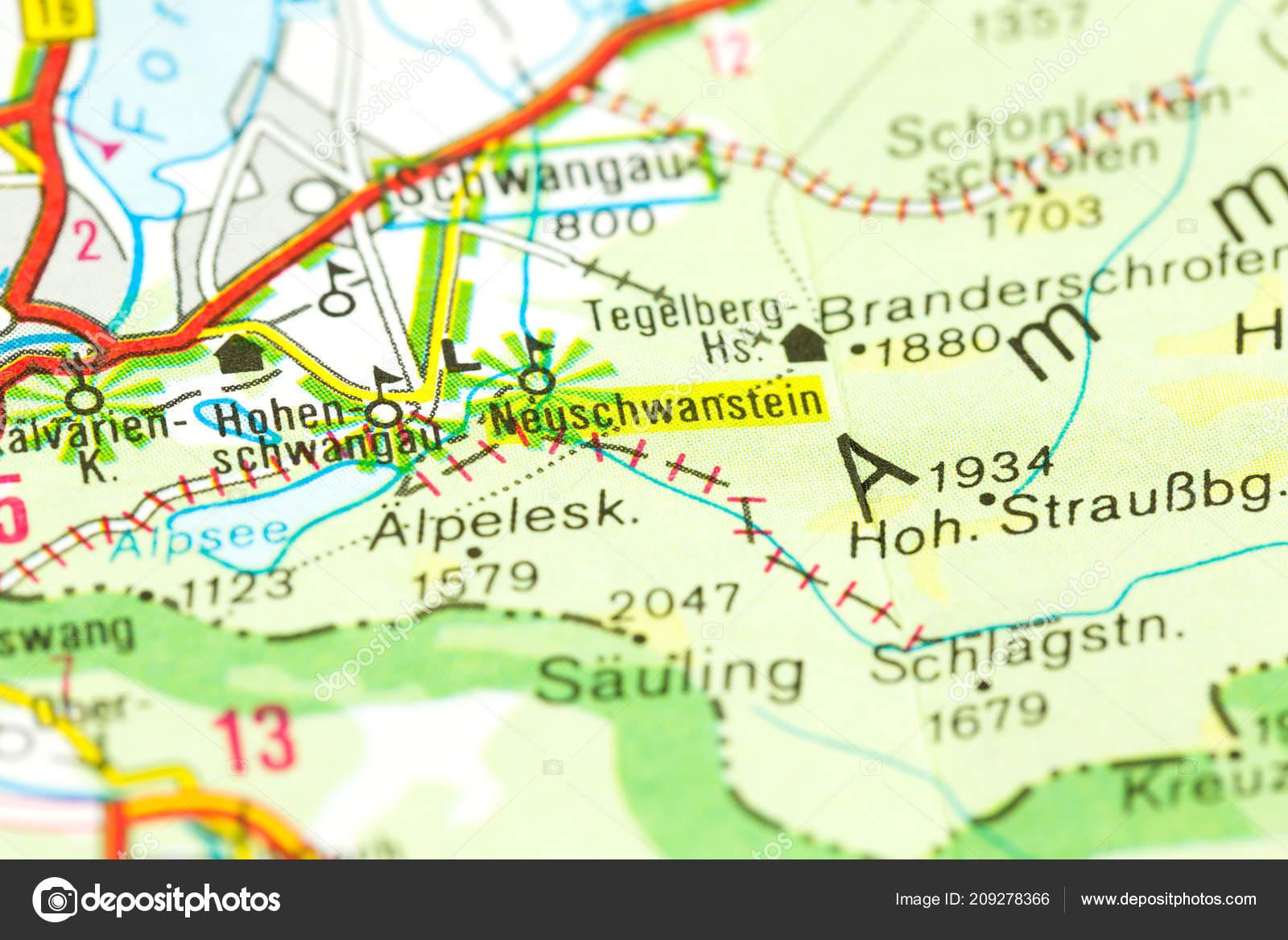 New Swanstone Castle Map Bavaria Germany Stock Photo