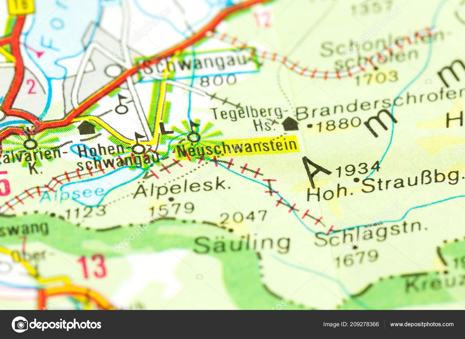 Nieuwe Swanstone Castle Kaart Beieren Duitsland Stockfoto