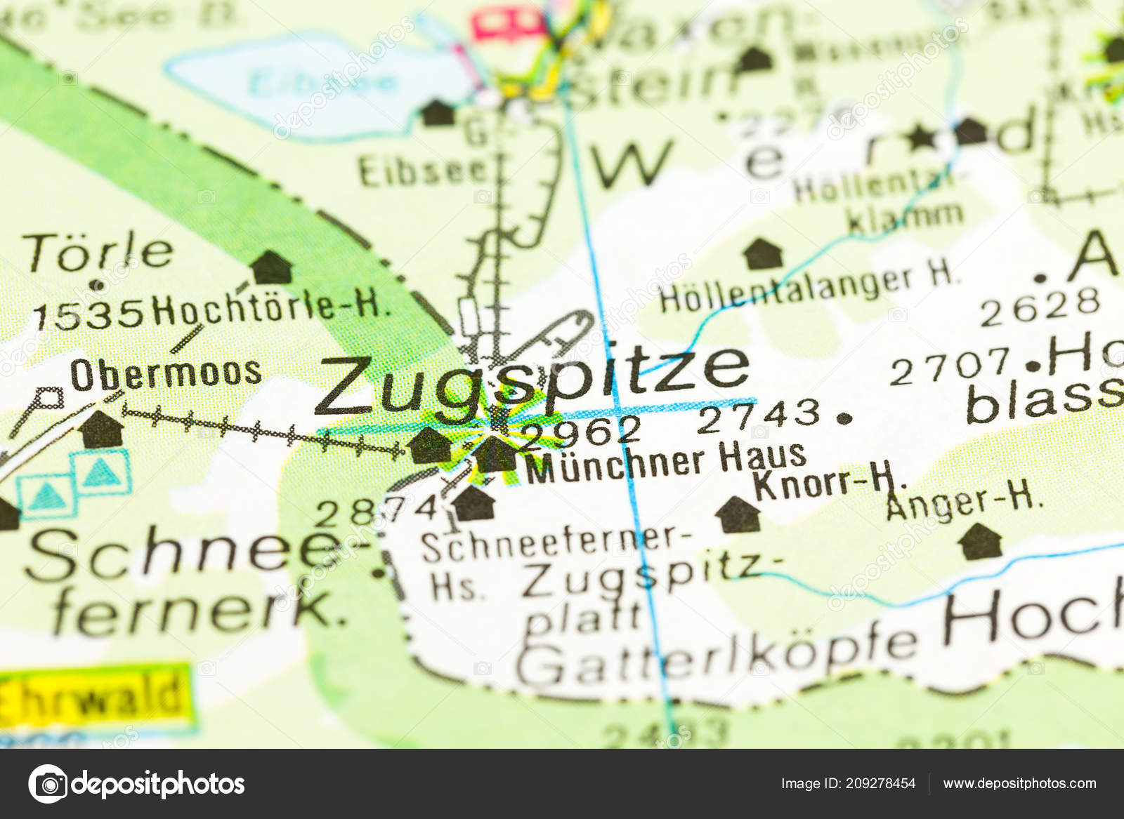 Map Of Germany Mountains.Highest Mountain Germany Map Zugspitze Bavaria Germany Stock Photo