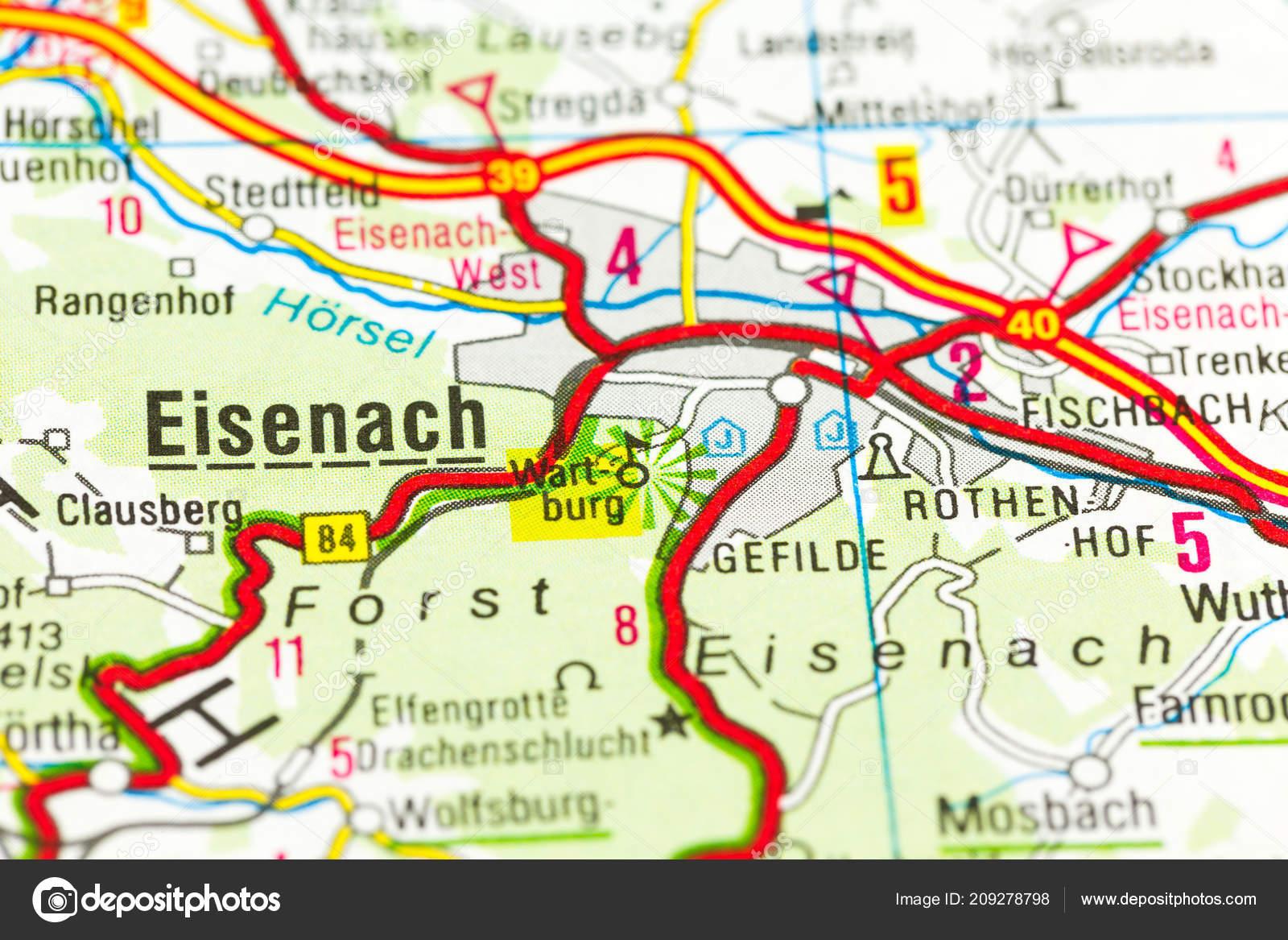 Karte Thüringen.Wartburg Castle Auf Karte Eisenach Thüringen Deutschland Stockfoto