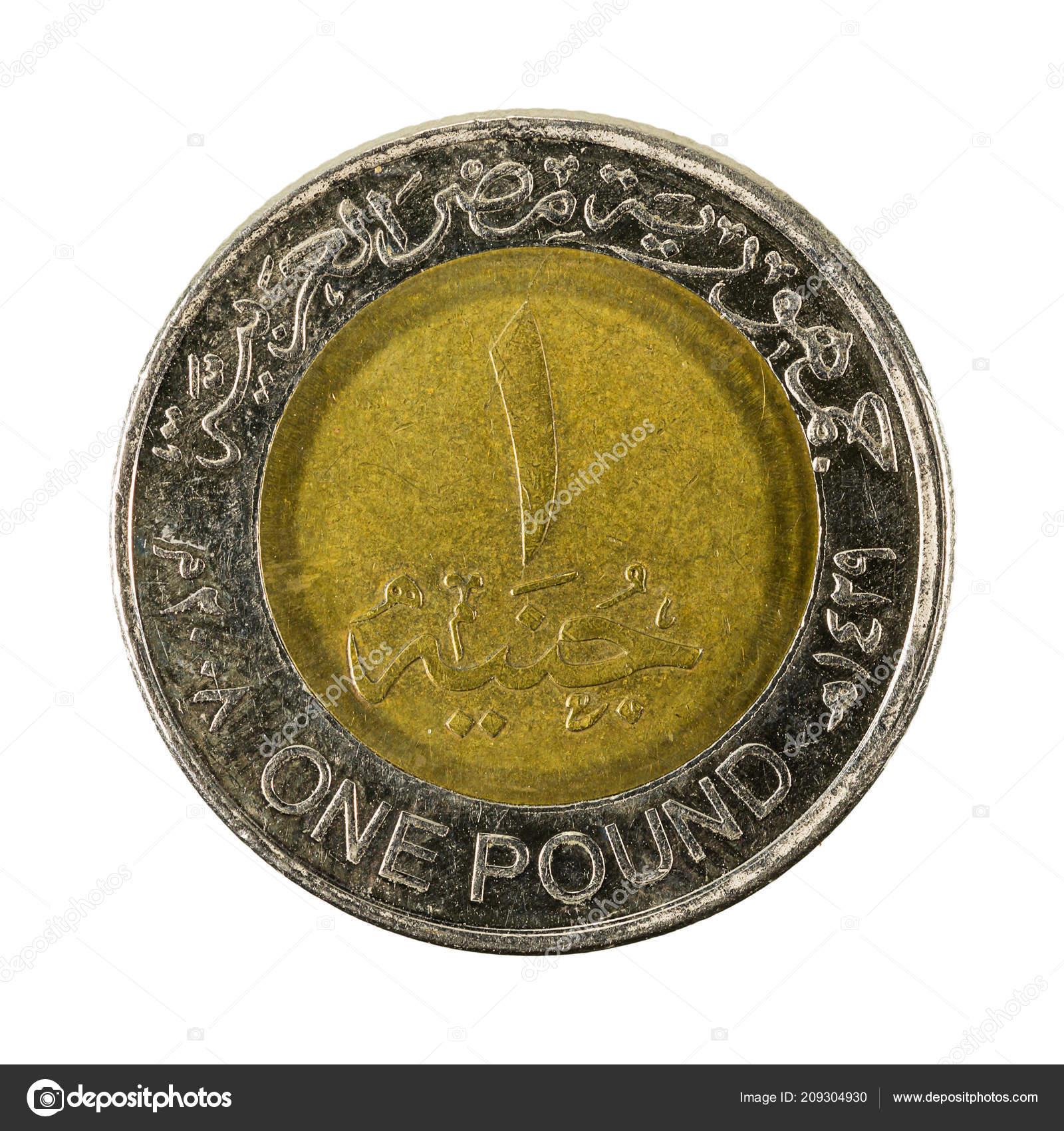 Avers Piece Monnaie Livre Egyptienne Isole Sur Fond Blanc