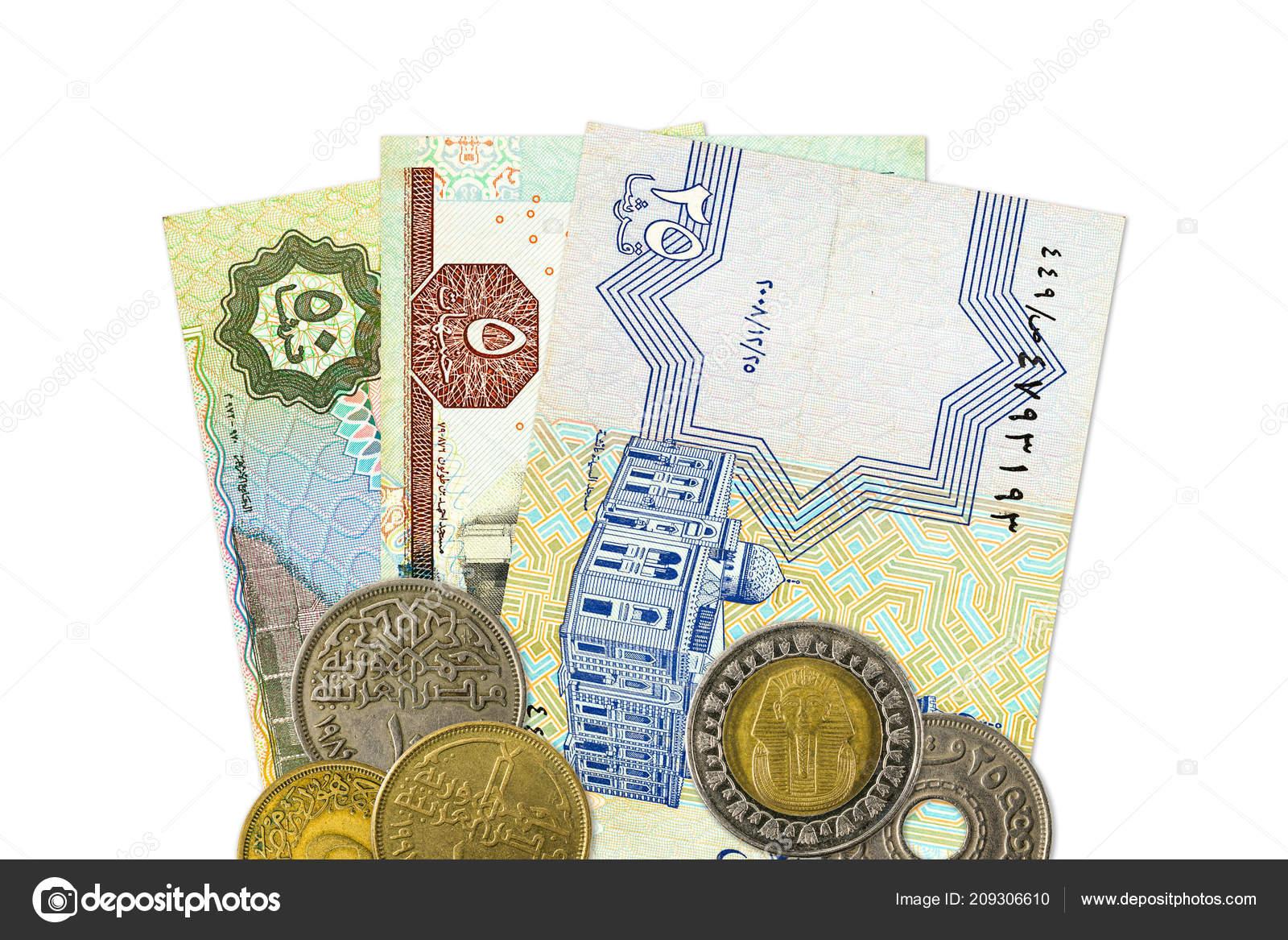 Certains Billets Banque Livre Egyptienne Des Pieces Photo